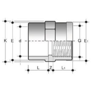 Муфта ПВХ клеевая с резьбой (усиленная)