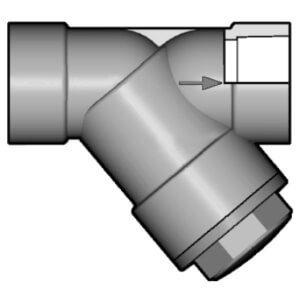 Сетчатый фильтр ПВХ с муфтовым соединением d 90 мм DN80 (серый) прокладки EPDM - 1