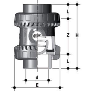 Размеры пружинного обратного клапана ПВХ SSEIV