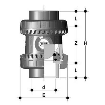 Размеры шарового обратного клапана ПВХ SXEIV