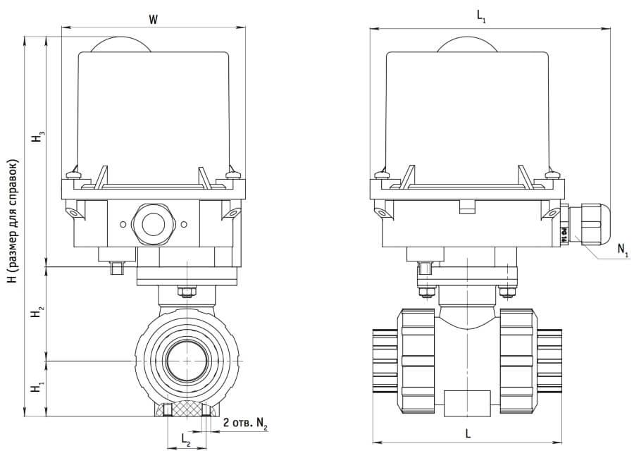 Размер шарового крана ПВХ с электроприводом
