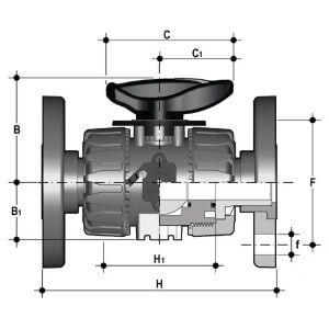 Размеры крана ПВХ VKDOV с фланцами