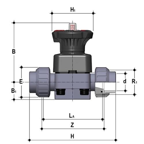 Мембранный клапан ПВХ 50 мм EPDM FIP Италия - 11